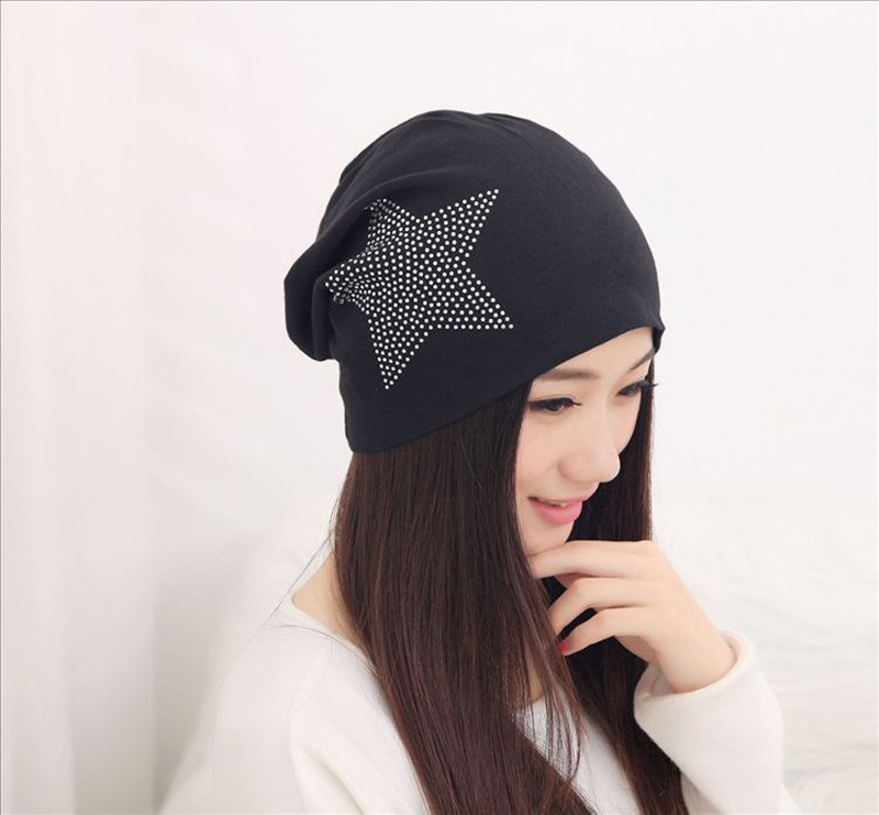 2015 Fashion Women's Hats with Rhinestone Star Pure Cotton Beanies for Men Black Lightweight Turban Winter Hats for Women Gorros