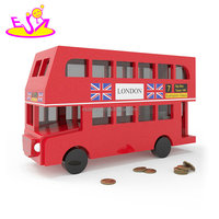 Original Design red bus wooden large piggy bank for wholesale W02A284