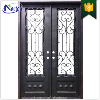 Modern Wrought Iron Double Entry Doors For Sale Ntig 046y View