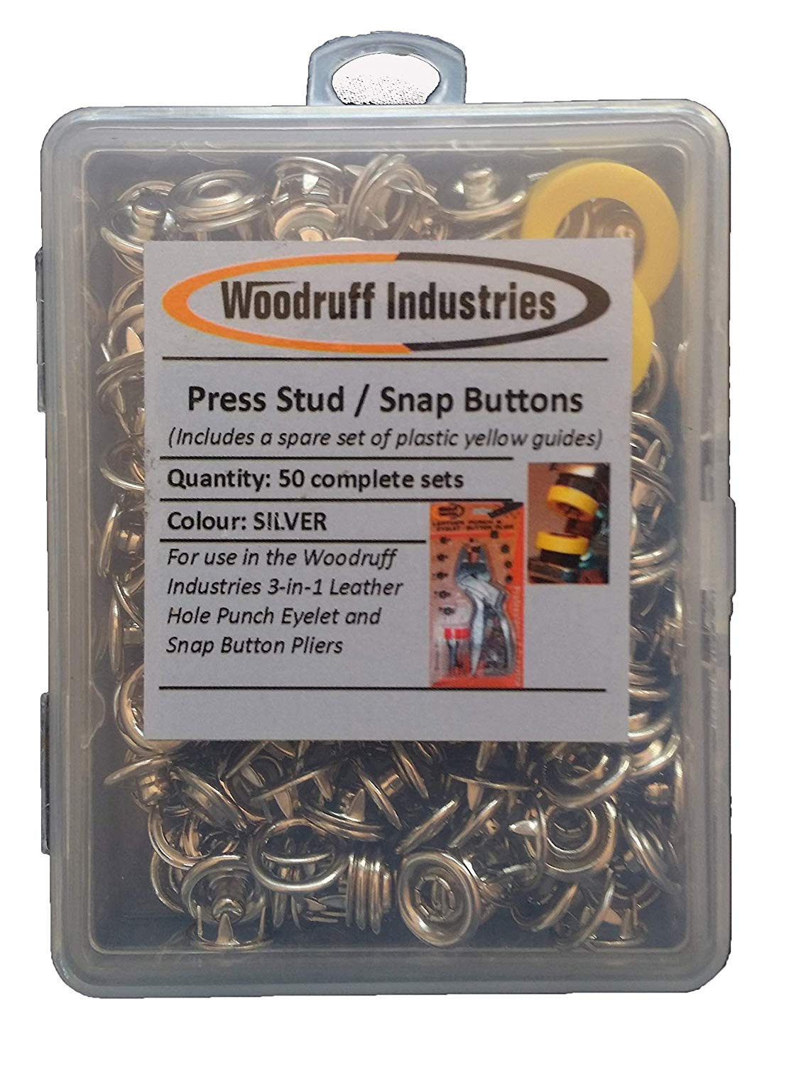 50 Complete Sets Metal SNAP (PRESS STUD) BUTTONS | SILVER Colour | for Arts, Crafts, Shoes, Clothes, Scrapbooking | 50 sets requires 200 component pieces, comes with replacement yellow guides | Nickel