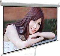 70X70 Self Locking System Screen,Manual Wall & Ceiling Mounted Screen,Roll Up Projector Screen