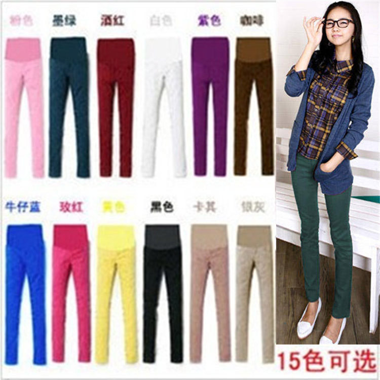 New arrivals 2015 fashion cotton Leggings pencil pants for pregnant women Candy 7 colors maternity pant