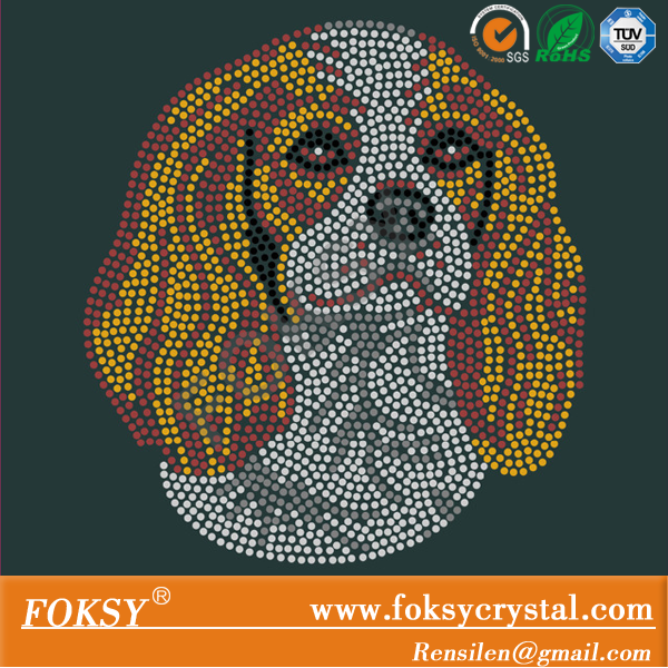 Cavalier King Charles Spaniel Dog hot fix crystal transfer for T-shirt wholesale price