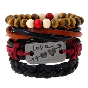 China Wholesale New Arrival Leather Alloy Love Bead Mens Leather Bracelet PK-0156
