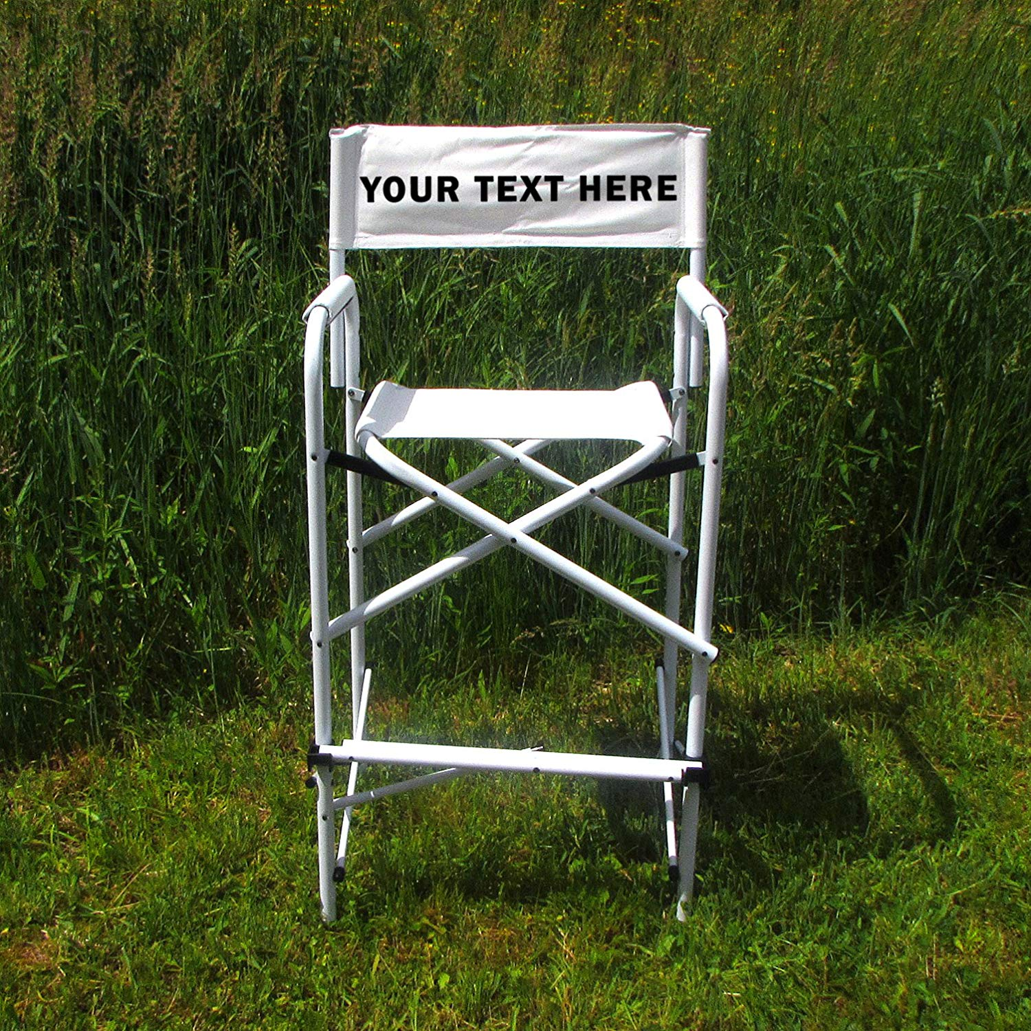 "PERSONALIZED IMPRINTED All Aluminum 30"" Tall Directors Chair by E-Z Up - White"