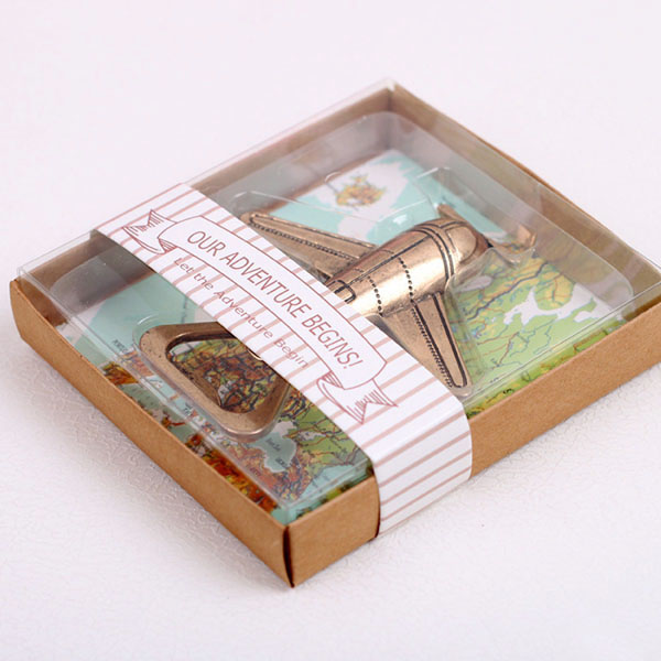 Wedding Favors Map Background Box Packaged Let the Adventure Begin Airplane Bottle Opener