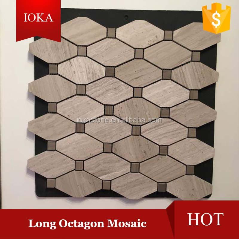En bois gris marble long octagon losange mosa que for Carrelage losange