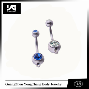 Unique double crystal navel piercing jewelry free sample belly button rings on hot sale