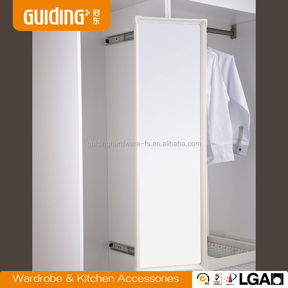 Bedroom closet full extension rotating storage mirror