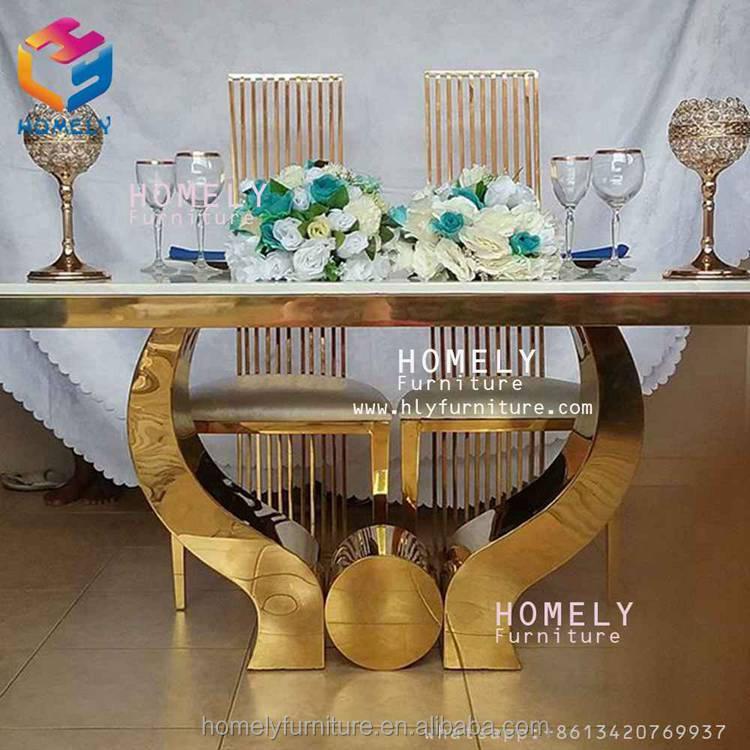 Luxurious Modern Simple Clean Good Leather Bar Party Wedding Golden Stainless Steel Wedding Bride Bridegroom Chair