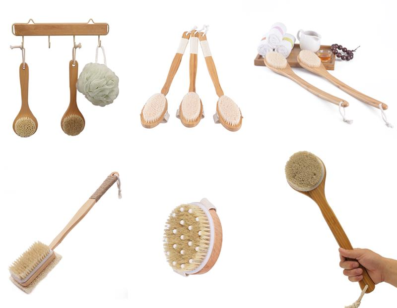 Japanse Houten Droge Huid Body Brush Set Douche Borstel Haak Bath Body Brush Natuurlijke Haren