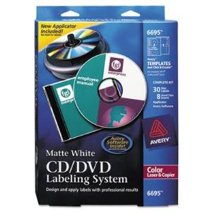 CD/DVD Design Kit, Matte White, 30 Laser Labels and 8 Inserts, Sold as 1 Kit