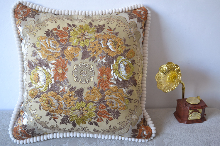 Japanese home sofa decor pillow cover pom pom embroidered pillow cover