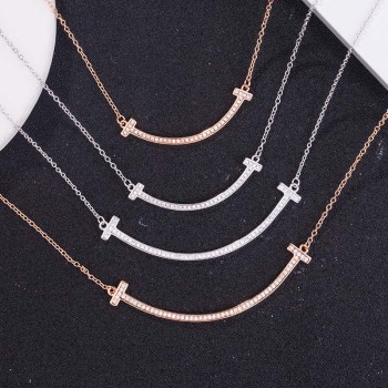 AP22575 wholesale custom 925 sterling silver bar smile necklace Dropshipping