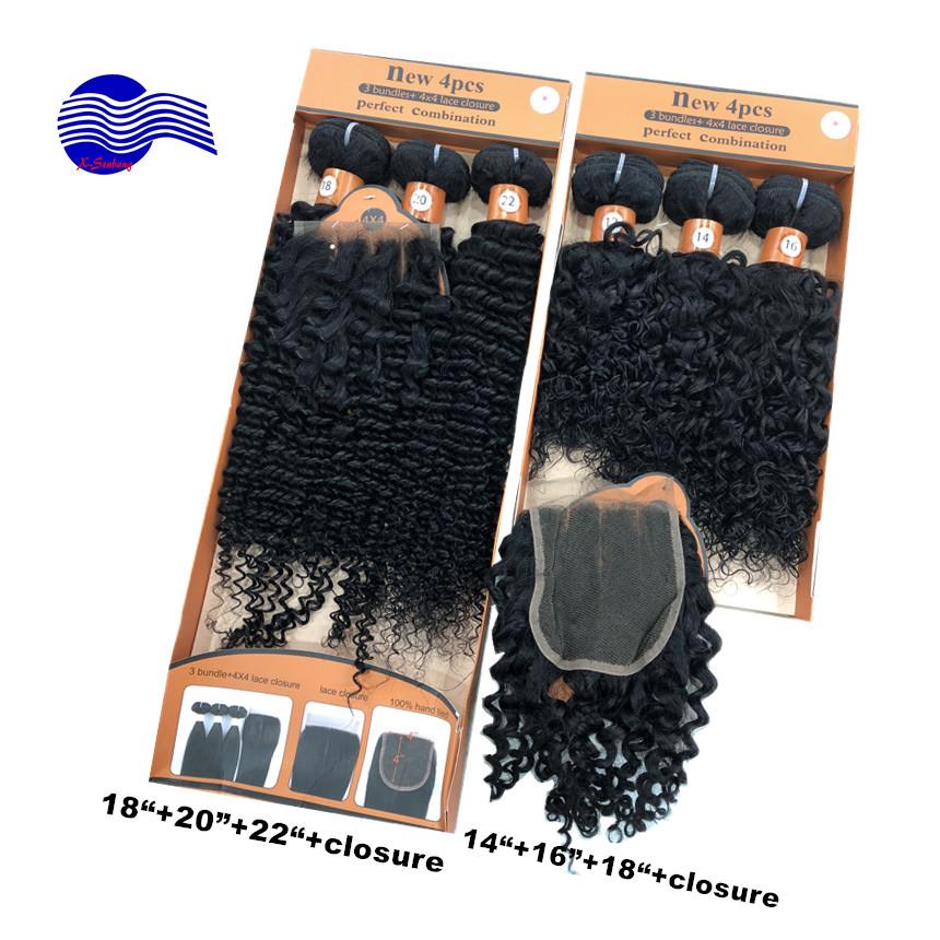 """100% brasiliano profonda ricci dei capelli 4 pz colore naturale 1 #280 gram lunghezza dei capelli 18 """"20"""" 22 """"chiusura diva capelli ricci"""
