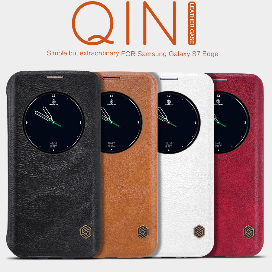 Nillkin Qin pu leather case for Samsung s7 edge flip cover