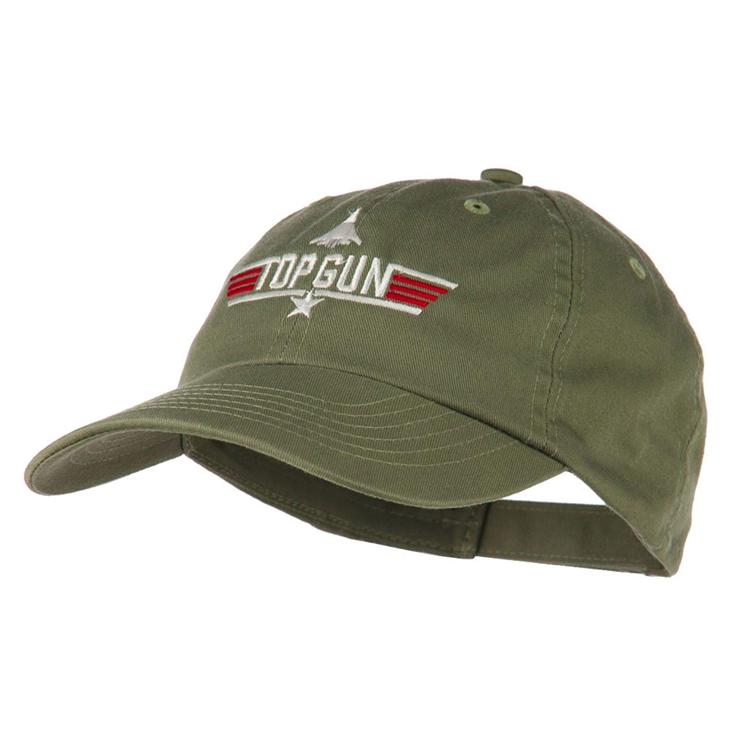 d10136ed231 Get Quotations · US Navy Top Gun Fighter Embroidered Washed Cap - Olive