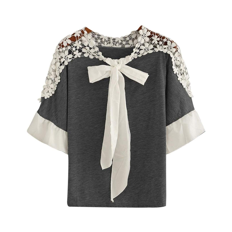 Teresamoon Clearance Sale ! Lace Tops, Women Short Sleeve T-Shirt Casual Blouse