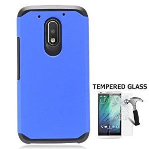 Phone Case For Motorola Moto G4 Play Consumer Cellular, Motorola Moto G Play Droid (Verizon Wireless) Case, Moto E 3rd Gen, Tempered Glass Screen Protector + Rubberize Hybrid Hard Cover Case (Blue)
