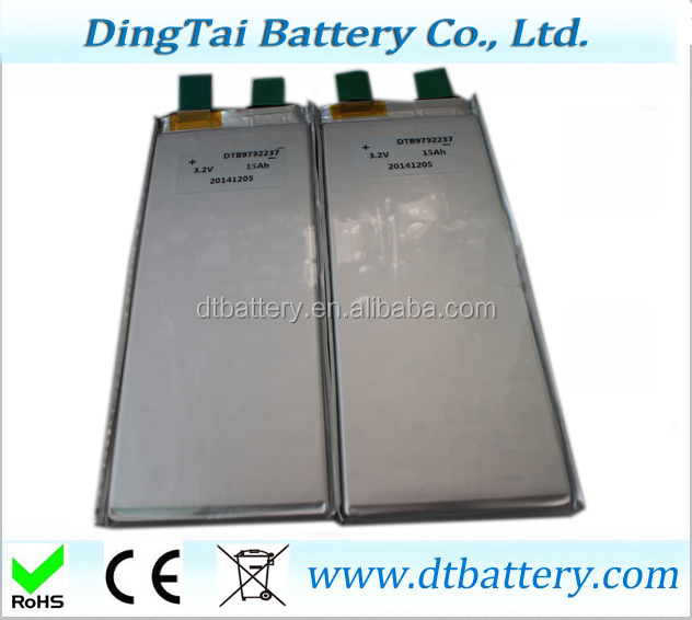 Rechargeable high rate prismatic LiFePO4 3.2V 15Ah 10C battery for car, bus ,golf car
