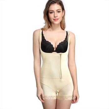 ed3a5cdfb980e Plus Size Skin Color Lace Mesh Open Design Body Shaper For Women ...