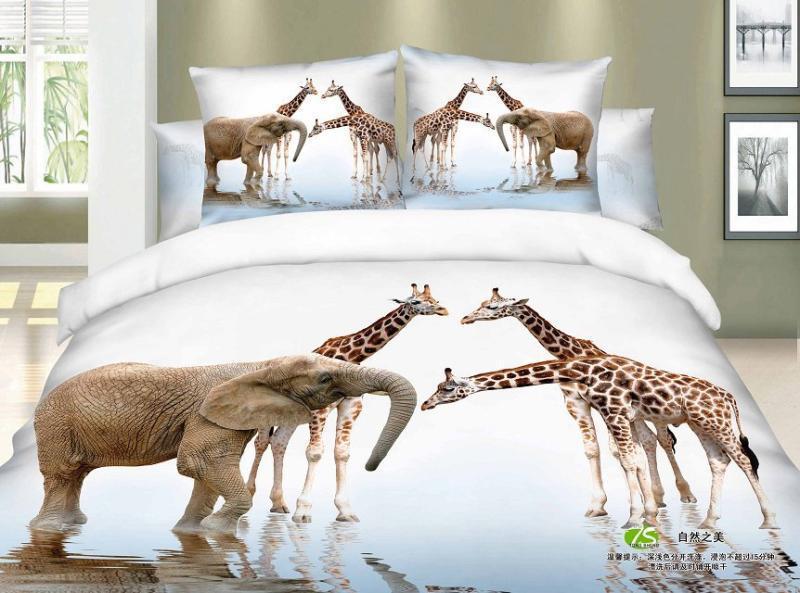 3D Giraffe Elephant Print Bedding Comforter Set Sets Queen