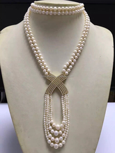 Classic Simple two row X Connector four row shell Pearl necklace