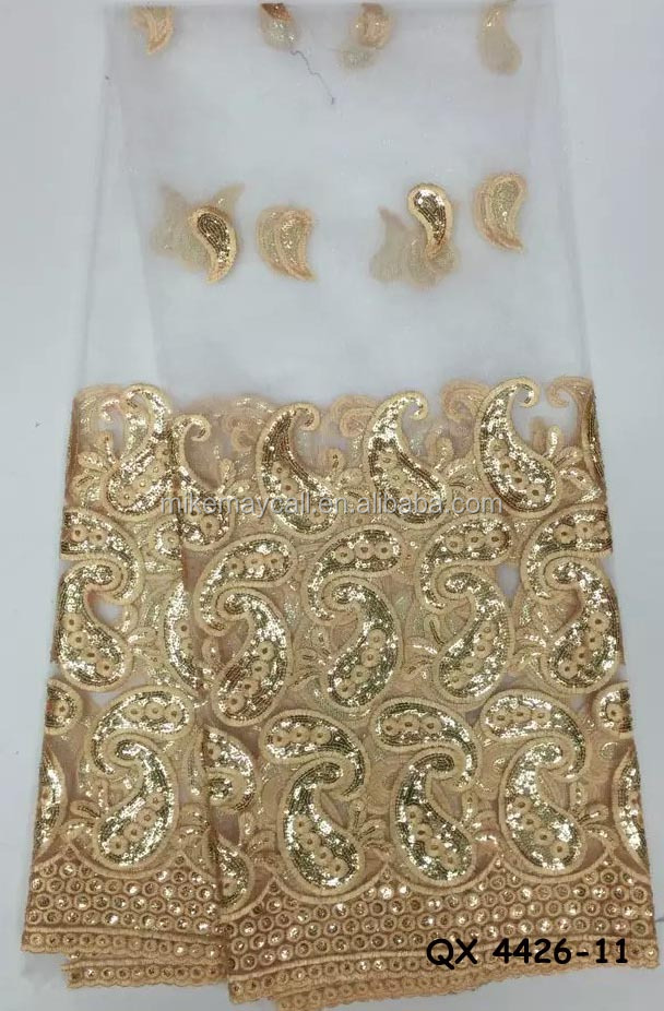 Fancy white sequin embroidery <strong>fabric</strong> for wedding dress gold pattern <strong>fabric</strong> QX 4426-11