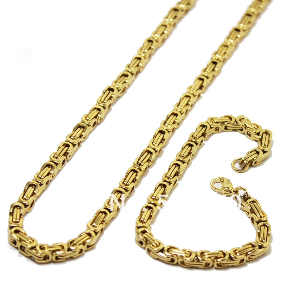 """Mens Gold Byzantine Necklace: 24""""MEN's Stainless Steel 6mm Gold Byzantine Box Link Chain"""