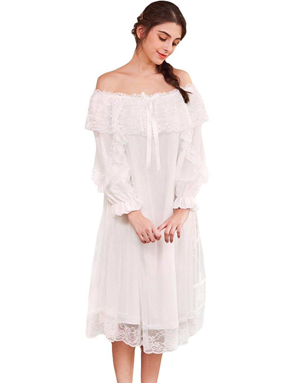 19cf11133e Get Quotations · AIKOSHA Womens Victorian Style 3 4 Flare Sleeve Off  Shoulder Two Layers Lace Cotton Nightdress