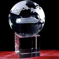 Crystal Globe 3D Ship Trophy For Journey Souvenir Awards