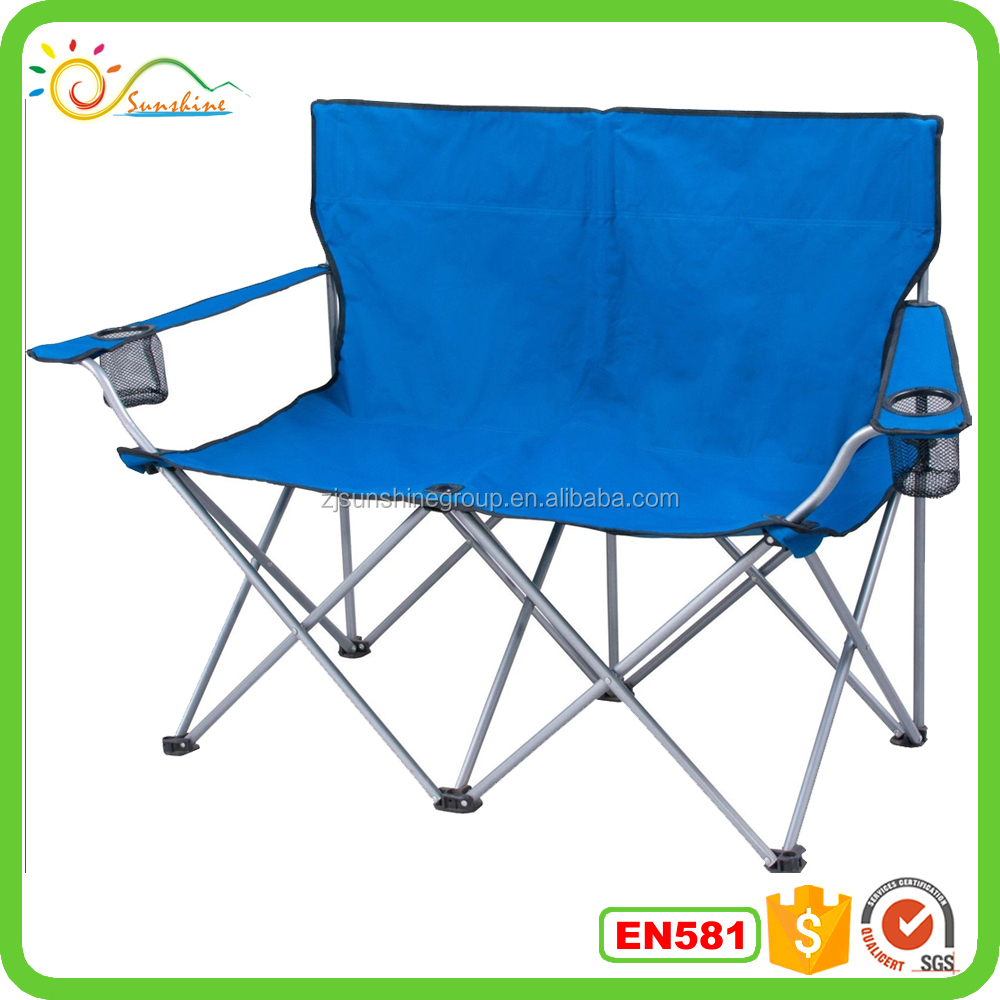 New design folding double seat camping chair, foldable loving chiar
