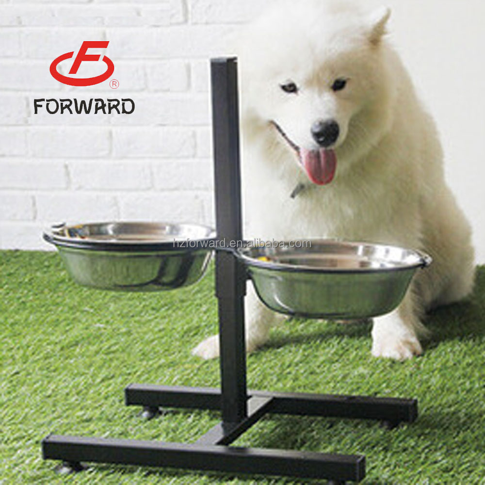 Adjustable Elevated Stainless Steel Pet/Dog/Cat Bowl With Shelf