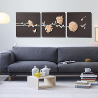 3 Pieces Handmade Home Goods Canvas Design Frame Art 3d Oil Wall Painting For Living Room Decoration