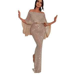 2018 Sequin Evening Gowns Off Shoulder Prom Dresses Shiny Sliver Mermaid Woman Party Dress Wear Gown With Cape