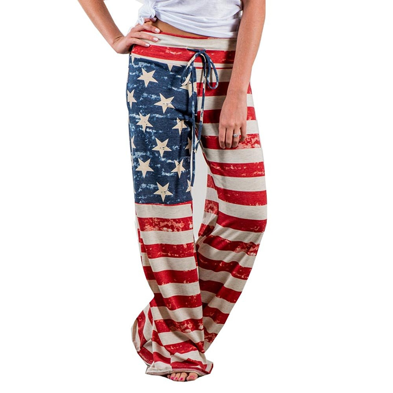 Women High Waisted Leggings for Sport Gym Independence Day American Flag Eagle