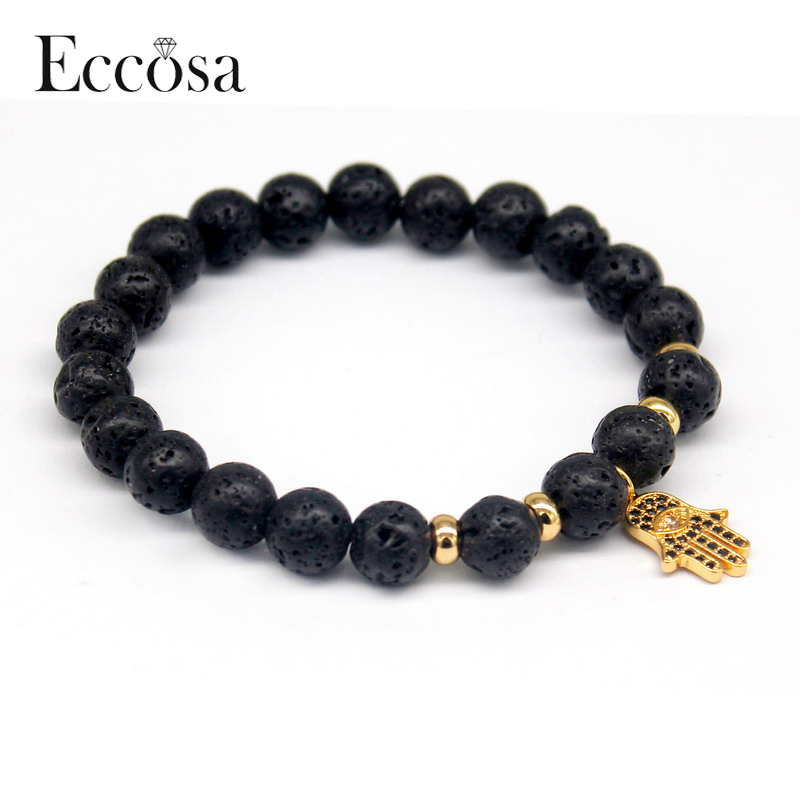 Top 2017 Fashion Lava Stone Charm Men's Bracelets Hamsa Bracelet Accessories