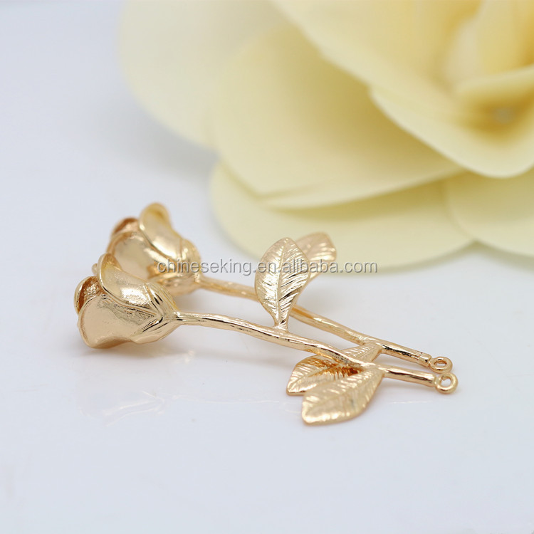 Solid golden rose shape jewelry accessories imitation metal rose charms pendant diy handmade necklaces pendant