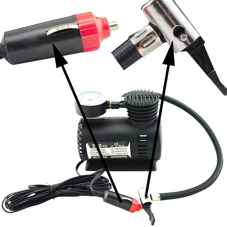 Denshine Portable Mini Electric Air Compressor for Car Tire Inflator Pump 12 Volt 300 PSI (Black)