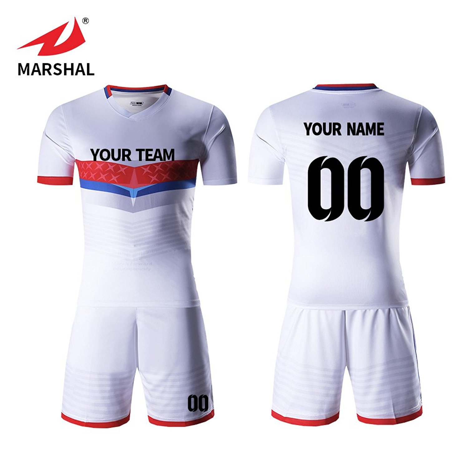 cf70c3dc3a2 Get Quotations · Marshal Jersey Custom Soccer Jersey Sets White Sportwear  Men s Uniform Custom Your Name