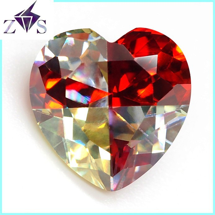 Dazzling Variegated Heart-cut Zirconia Gemstone Beads
