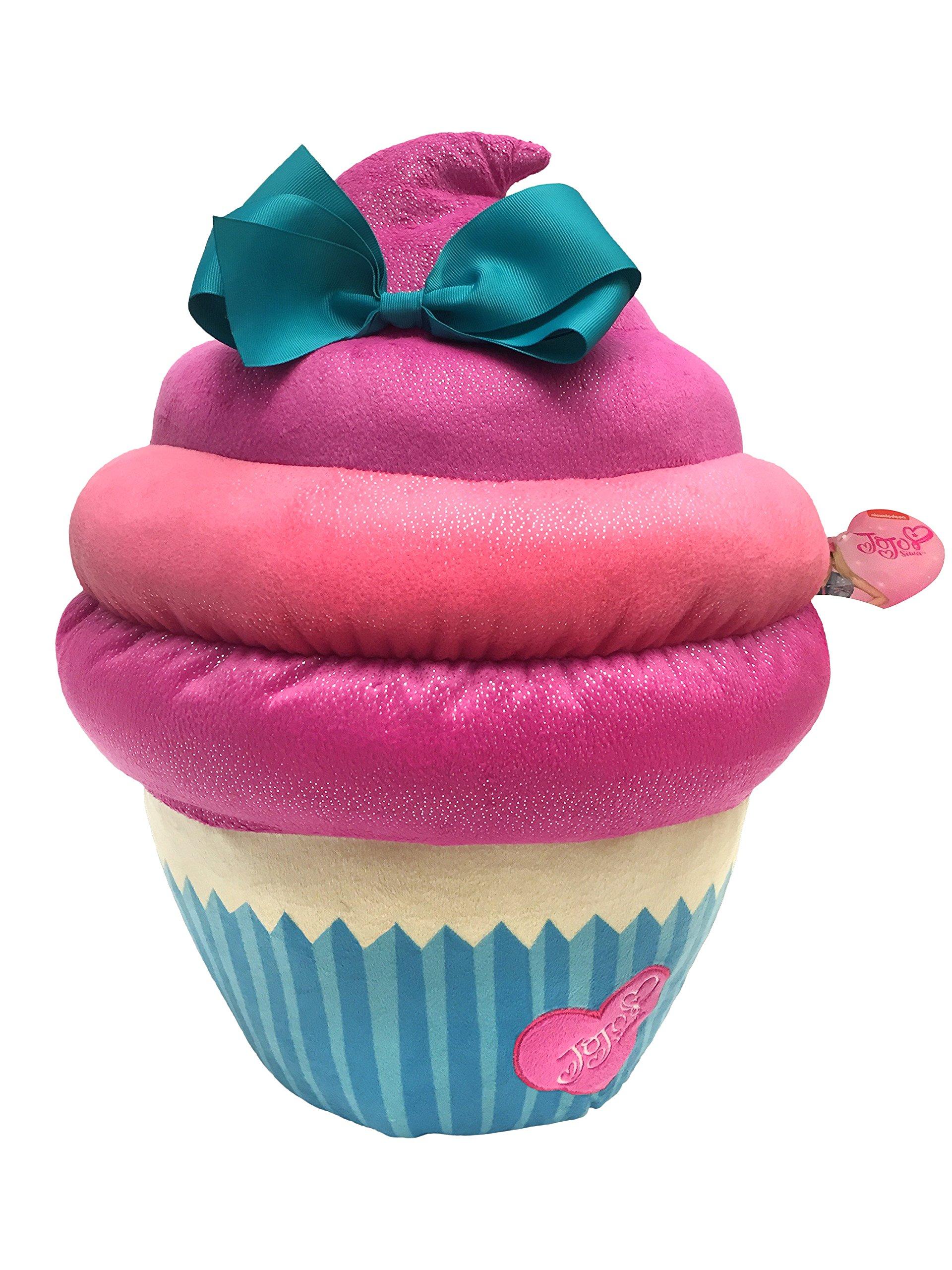 "Nickelodeon JoJo Siwa Large 17"" Plush Pink/Blue Sparkle Cupcake Pillow with Bow"