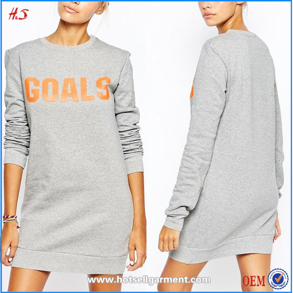 Alibaba chinese clothing manufacturers lady fashion latest sweater dress with goals print