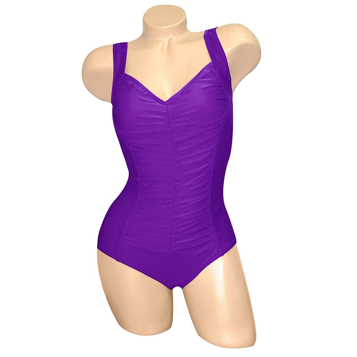 f34ad3dab87ef Get Quotations · Carol Wior A110P Purple Shirred Hourglass Swimsuit with  Control