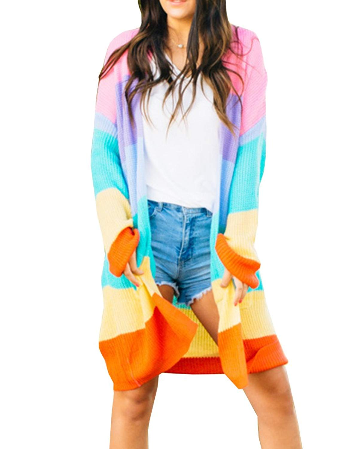 FISACE Womens Oversized Color Block Cardigan Rainbow Stripe Long Draped Knit Sweater with Pocket
