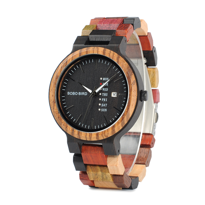 BOBO BIRD wholesale custom logo wood watch men with show date quartz movement, Picture