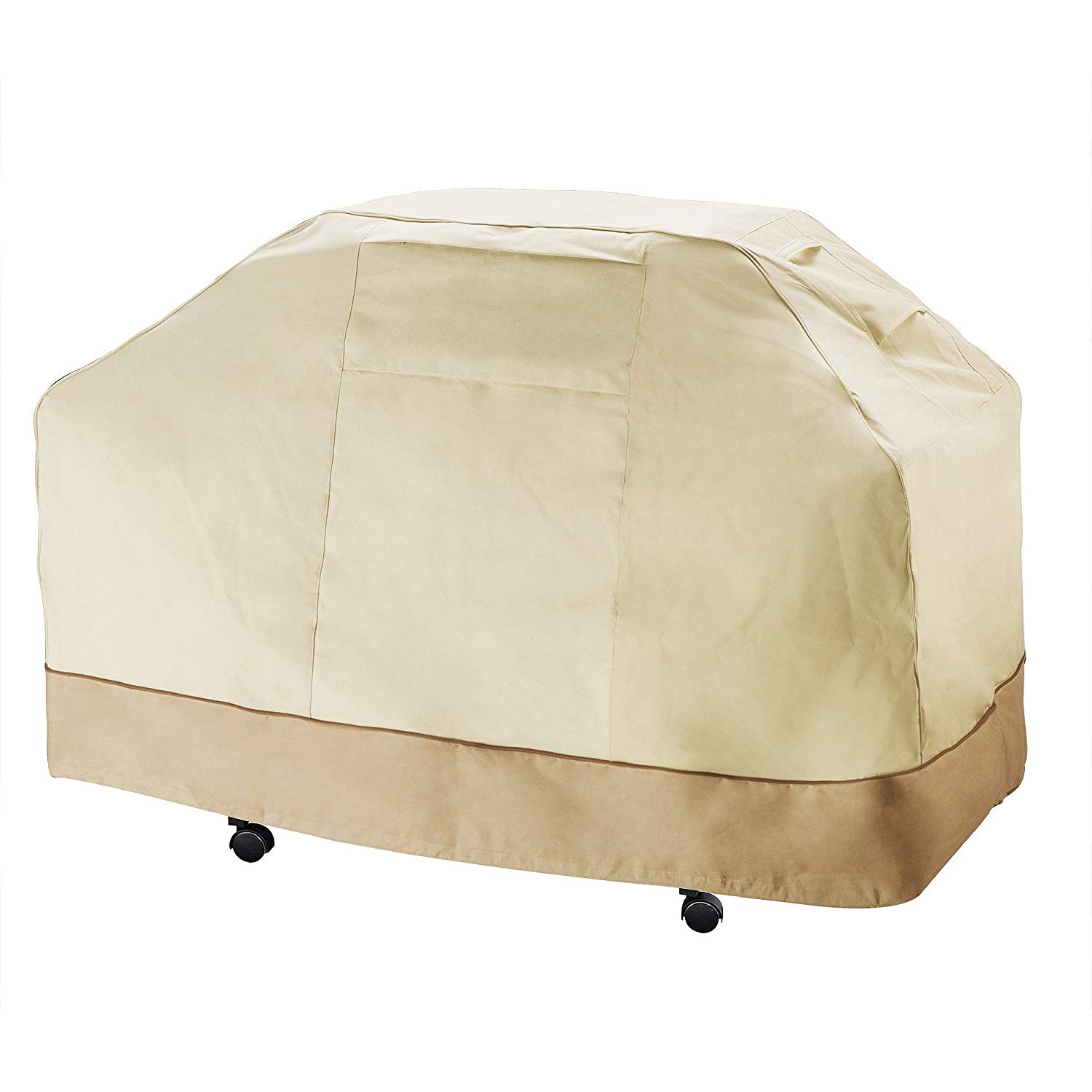 Ln 1 Piece Beige Brown Outdoor Camping Grill Cover Waterproof 70 Inch, Water Repellent BBQ Cover Extra Large Durable Patio Barbecue Cover Heavy Duty Buckle Material Elastic Hem Toggle, Fabric