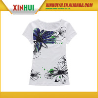 2015 couple's custom heat transfer printed wholesale production cost high quality short T shirt