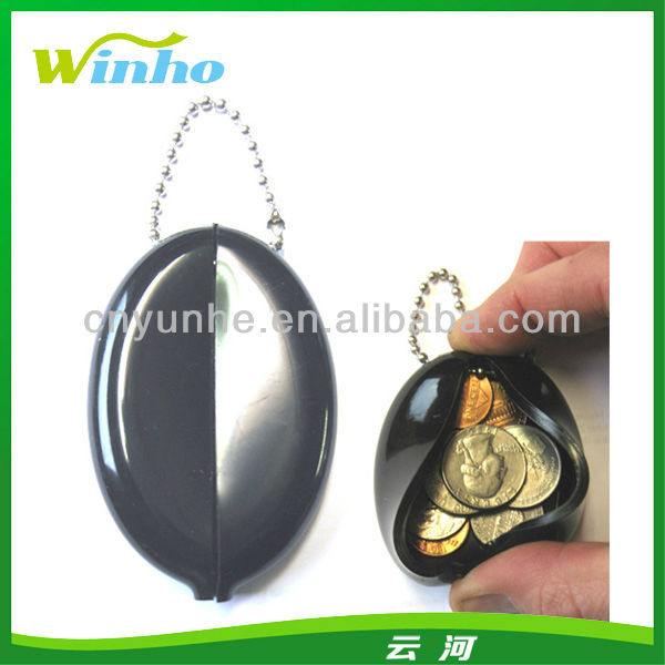Oval Wallet Purse Quality Rubber Squeeze Coin Keychain Holder
