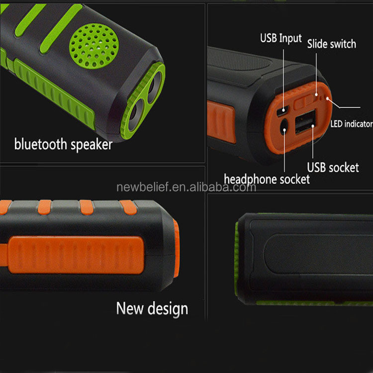 High Quality Portable External Battery OEM Branded Power Bank 5200mAh with LED Flashlight and Wireless Speaker